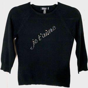 Laundry Shelli Segal Black Cashmere Bling Sweater